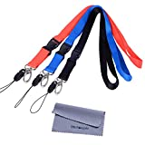 Office Lanyard, Wisdompro 3 Pack 23 inch Polyester Neck Keychain Strap with Oval Clasp and Detachable Buckle for Phone, Camera, iPod, USB, Key, ID Name Tag Badge Holder - Red, Black, Blue