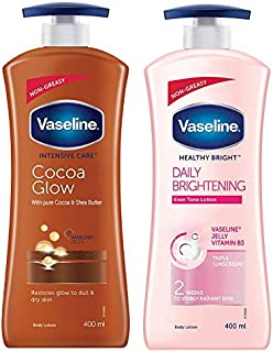 Vaseline Intensive Care Cocoa Glow Body Lotion, 400 ml And Healthy Bright Daily Brightening Dry Skin Body Lotion, 400 ml