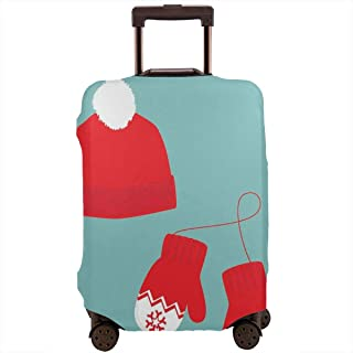 Travel Luggage Cover,Pair Of Xmas Mittens Winter Hat With Pompom Holiday Accessories Suitcase Protector