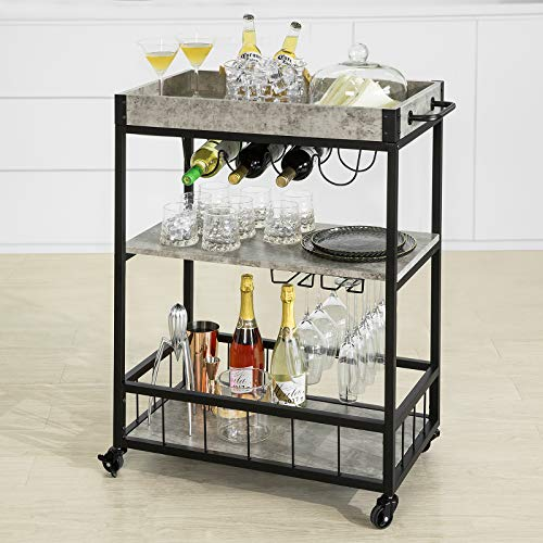 Haotian FKW56 Modern Design 3 Tiers Kitchen Trolley Serving Trolley with Wine Rack Metal & MDF...