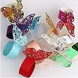 50 Pezzi portatovagliolo a forma di farfalla, 3D Farfalla di Carta Tovagliolo di Arredamento Perlato Porta Anelli Portatovagliolo Anello, per Matrimonio Battesimo Natale Festa (Colore casuale)
