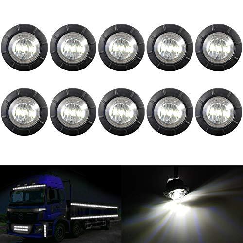 """KaTur 3/4 \""""runde LED Vorne Hinten Seitenmarkierungsanzeigen Licht Wasserdichte Kugel Abstand Licht 12 V für Auto Lkw (Weiß)"""