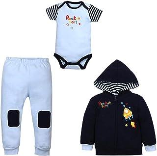 ZEVONDA Baby Clothing Set 3Pcs - Hooded Coat & Short Sleeve Bodysuit & Trousers Newborn Girl Boy Autumn Winter Clothes Outfits 0-18 Months