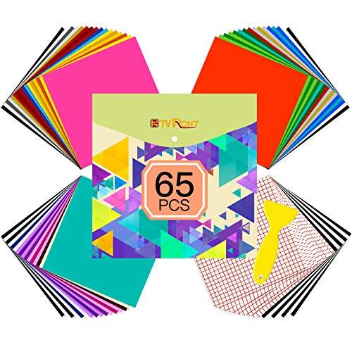 HTVRONT 65 Blätter Vinylfolie Plotter Selbstklebend,55 Blatt Plotterfolie Selbstklebend&10 Blätter Übertragungsfolie für Partydekoration, Aufkleber, Bastelschneider, Autoaufkleber
