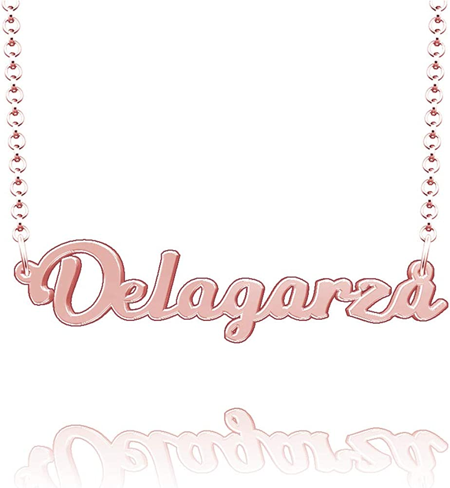 LoEnMe Jewelry Customized Delagarza Name Necklace Stainless Steel Plated Custom Made of Last Name Gift for Family