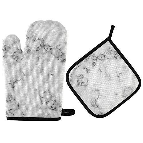 TropicalLife JinDoDo - Guantes de horno de mármol blanco para horno, almohadilla de aislamiento térmico resistente para cocina y barbacoa