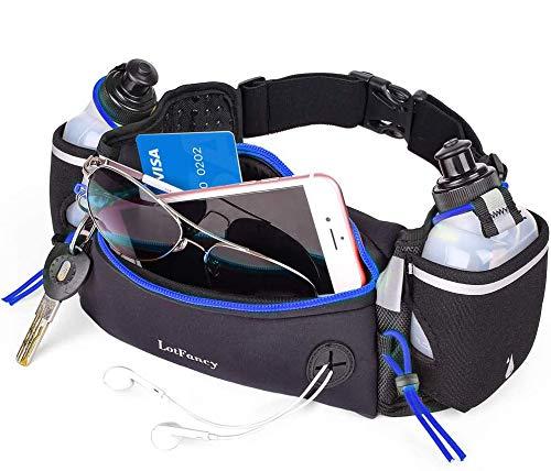 LotFancy Riñonera Deportiva Hidratacion, Cinturón de Correr con 2 Botellas de Agua, Diseño de Multi-Capa Impermeable y Transpirable para Maratón, Activar, Ciclismo, Escalada, Camping (Azul)