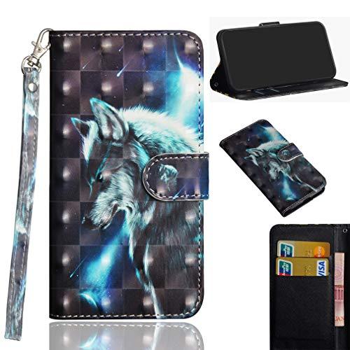 LMFULM® Hülle für Xiaomi Redmi K30 Pro / K30 Pro Zoom (6,67 Zoll) PU Leder Magnet Brieftasche Lederhülle Stent-Funktion Schutzhülle Ledertasche Flip Cover - 3D Wolf