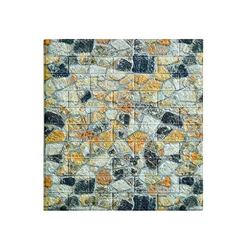 LRZS Foam brick wall panels Cobblestone 3D Wallpaper 70 * 77cm Simulation Marble Tile Stickers self-adhesive Foam Board Antifouling Wall Decoration For Home Hotel (Color : Bronze, Size : 10pcs)