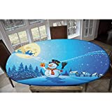 Christmas Elastic Polyester Fitted Table Cover,Snowy Landscape Pines Houses Starry Sky Full Moon and Santa with Present Decorative Oblong/Oval Elastic Fitted Tablecloth,Fits Tables up to 48' W x 68' L