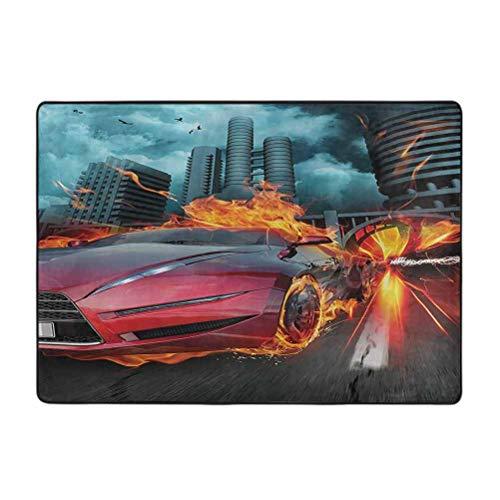 Alfombra de área de impresión de coches, diseño de coche rojo en llamas llamas, construcción de neumáticos y pájaros que aceleran rápido, alfombras de 6 x 9 pies para sala de estar dormitorio comedor