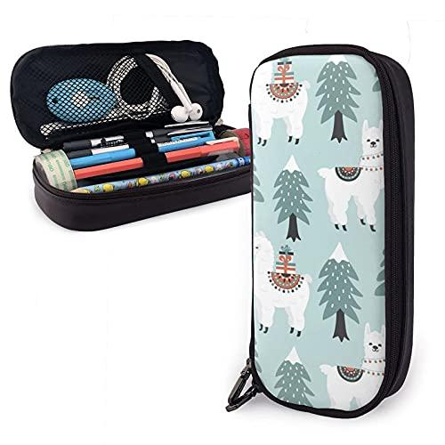 Estuche Christmas Tree Cute Lama With Gift Boxes Pattern Estuche multifuncional de cuero Pu para lápices con cierre de cremallera doble - Estuche de transporte para útiles escolares Material