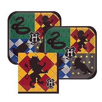 Harry Potter Hogwarts Paper Dessert Plates and Gryffindor Paper Napkins 16 Servings Bundle- 3 Items