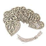 MINGZE 10 piezas de recorte en forma de corazón adornos de madera artesanía ornamento colgante para el día de San Valentín regalo de la boda kit de decoración de vacaciones de bricolaje, 8 x 8 cm
