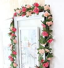 Meiliy 2 Pack 8.2 FT Fake Rose Vine Flowers Plants Artificial Flower Home Hotel Office Wedding Party Garden Craft Art Decor Pink ML-021pi