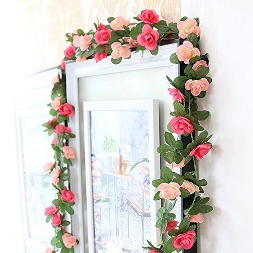 MERSUII Fake Rose Vine Flowers Plants, Silk, Pink, a