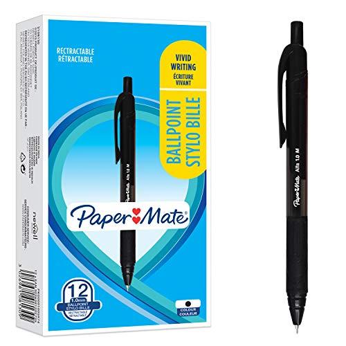 Paper Mate Alfa Penne a Sfera Retrattili, Punta Media 1.0 mm, Inchiostro Nero, Nero, 12 Pezzi
