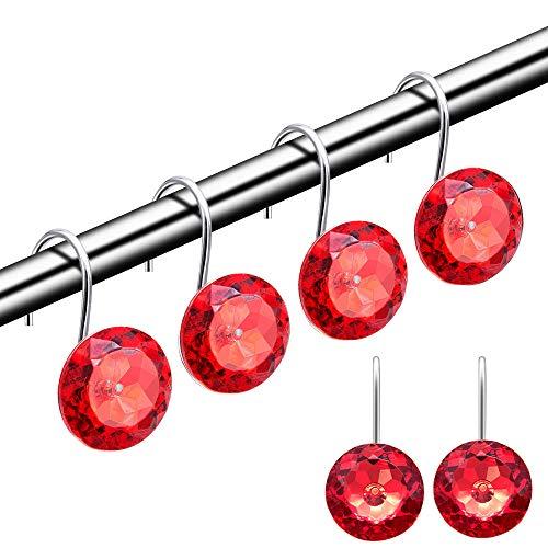 HMYJJ Duschvorhang-Haken, dekorative Strass-Acryl-Kristall-Duschringe, Edelstahl, rostbeständige Haken, Badezimmer, Babyzimmer, Schlafzimmer, Wohnzimmer, Set mit 12 Ringen, Rot