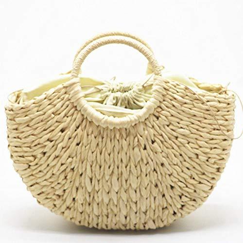 WOKJBGE Straw Beach Bag Handgemaakte Beach Bag Ronde Rieten Tas Grote Emmer Zomer Tassen Vrouwen Mand Handtas