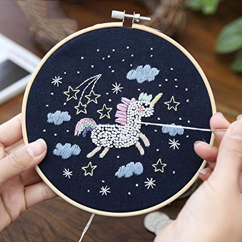 GHFF Niedliche Cartoon Animal DIY Stickzubehör Kit Starry Sky Series Stickmaterial Verpackungstechnologie Stickerei Produktionsbedarf