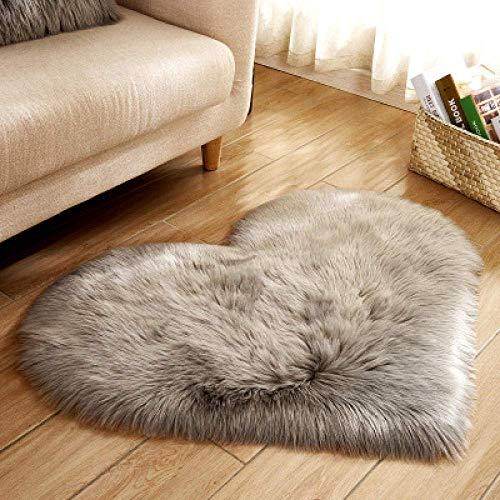 GANE Teppiche Shaggy Carpet Faux Schaffell für Schlafzimmer, Schlafzimmer Herzförmige Super Soft Faux Fur Lammfell für Schlafzimmer Halle Wohnzimmer Home Decor-grau 30 * 40