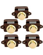 cherrypop 5 Stks Keyless Drukknop Vang Deurknop Lock voor RV Caravan Kast Boot Motor Thuis Kast, Bruin Goud