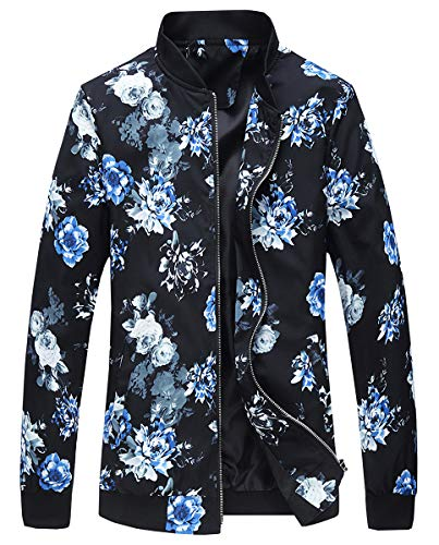 EMAOR Mens Men's Casual Long Sleeve Bomber Jackets Zip Up Floral Printed Baseball Coat
