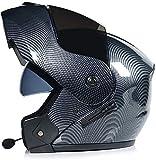 DFBGL Bluetooth Modular Flip up Front Casco de Motocicleta Casco de Moto Integral Ligero con Doble Visera Cascos de Motocross L = 58~59CM (Color: F, Tamaño: L = 58~59CM)