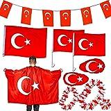 Murago - 10-TLG Türkei Dekoration Fan Set - Türkiye Bayrak Fahne für Auto Fenster Flagge Party türkische Fanartikel Girlande Umhhang