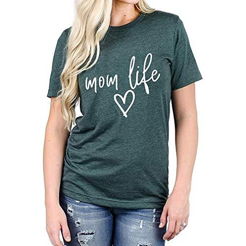 ASFD Camiseta de Verano Mom Life Shirt Blessed Mama Camiseta de Cuello Redondo Mujer Camiseta de Manga Corta con Estampado de Letras para Mujer (Verde Oscuro S