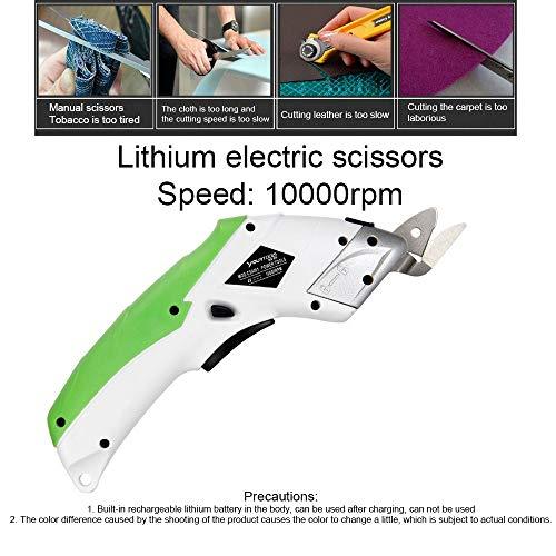Elektrische schaar, netschaar, draadloos, oplaadbaar, USB, 4 V, met 2 snijmesjes, voor het snijden van stof, leer en tapijt