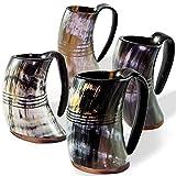 Carfar Viking - Set di 4 tazze con corno di bue, 100% autentico boccale di birra fatta a mano, base in legno (set da 4)