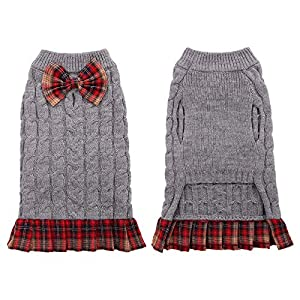 Kuoser Dog Sweater, Dog British Style Sweater Dress Warm Dog Sweaters Knitwear Vest Turtleneck Pullover Dog Coat for Small Medium Dogs Puppies Bulldog for Fall Winter with Leash Hole XS-XL