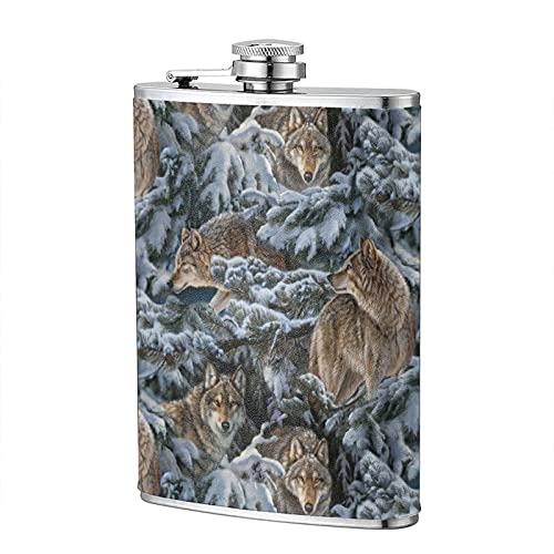 mengmeng Winter Wolves Wolf - Petaca portátil de 8 onzas de bolsillo de acero inoxidable para escalar, camping, barbacoa, bar, fiesta, bebedor