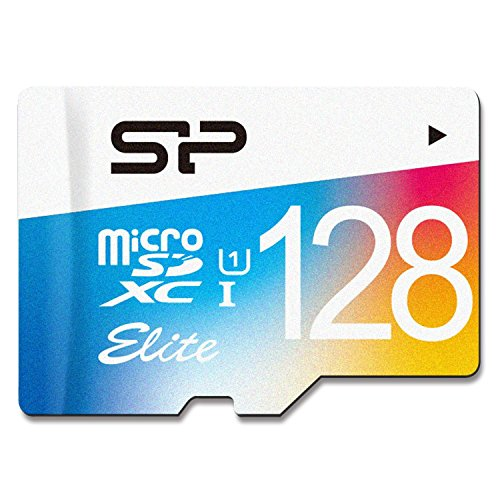 Silicon Power Carte mémoire Flash MicroSDXC UHS-1 Class10, Elite avec Adaptateur (SP128GBSTXBU1V20BT) 128 Go