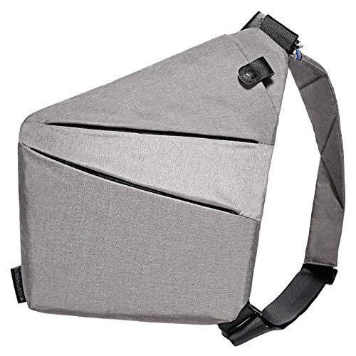 Schultertasche mit Schultergurt, Diebstahlschutz, Reisetasche für Männer, Frauen, Jungen, wasserdicht (hellgrau)