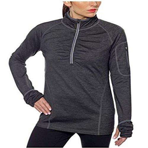 Kirkland Signature Womens Active 1/4 Zip Ruffled Pullover (XL, Charcoal)