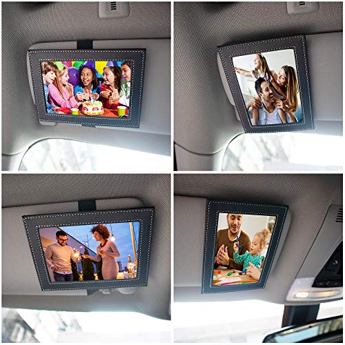 Temlum Artificial Leather Visor Photo/Picture Frames Fits Standard 5-inch Photo/Picture (3.5' x 5') Displays Your Photographs Both Vertically and Horizontally (Black, 1 pcs)