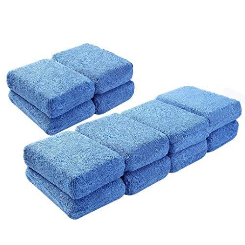 Omenluck - 12 esponjas de Microfibra Lavables de Espuma Suave para aplicar en el Coche