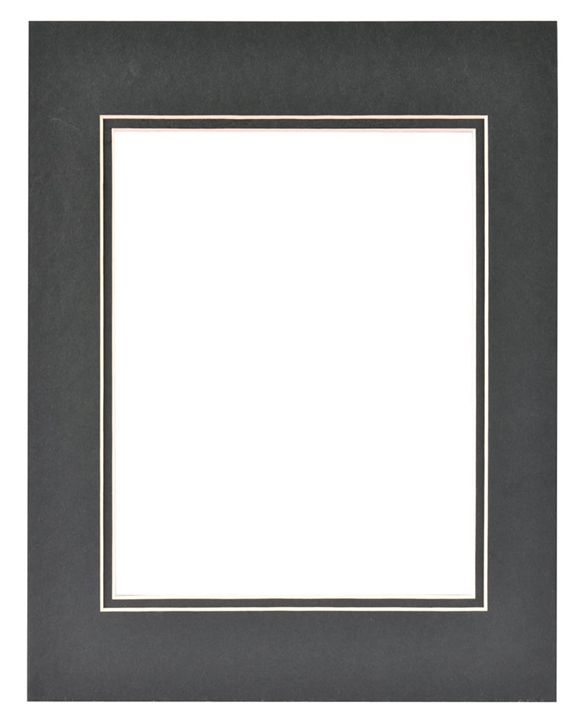 Gallery Solutions Custom Bevel Cut Double Black Mat for 11x14 Picture Frame with 8x10 Opening