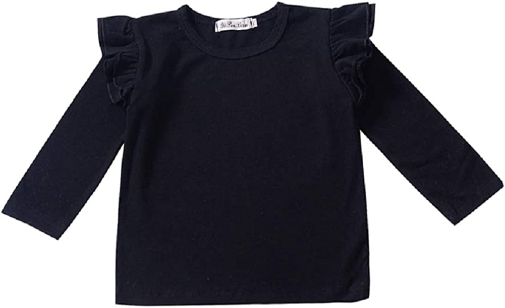 BOUTIKOME Kids Toddler Baby Girls Basic Ruffle Sleeve Cotton T Shirts Tops Blouse Solid Cotton Basic Tees Plain Shirt