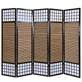 Homestyle4u 90, Paravent Raumteiler 5 teilig, Faltbar Blickdicht, Holz Bambus Reispapier, Braun
