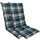 DILUMA Cojín para sillas de Exterior 'Naxos' con Respaldo Alto 118 x 49 x 6 cm - Núcleo de Espuma y Cintas de sujeción - EU - ÖkoTex100, Diseño:Azul a Cuadros, Cantidad:Set x2