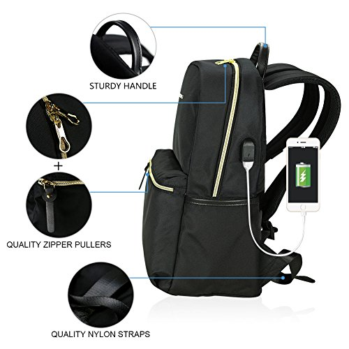 School Backpack 15.6 Inch Upgraded Fashion Laptop Backpack Water-Repellent Computer Backpack Laptop Bag Nylon Casual Daypack with USB Charging Port for Travel/Business/College/Women/Men-Black
