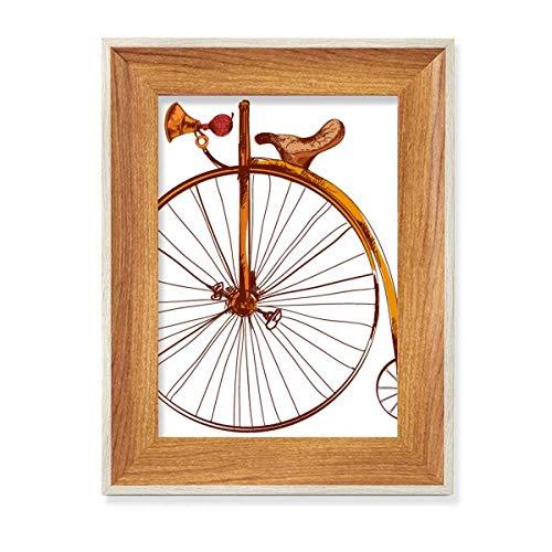 Old Fashioned Bicicleta Alta Wheeler Gran Bretaña Escritorio Marco de fotos de madera de la exhibición de la imagen del arte pintura múltiples conjuntos