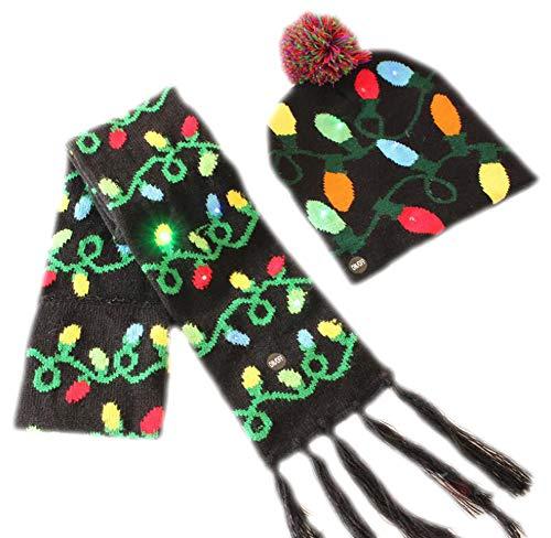 October Elf Sciarpe e cappelli invernali di Natale Set Sciarpa per feste di Natale con luci a LED lampeggianti per bambini o adulti (Le foglie)