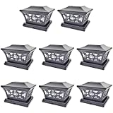 iGlow 8 Pack Black 6 x 6 Solar Post Light SMD LED Deck Cap Square Fence Outdoor Garden Landscape PVC...