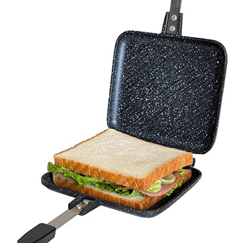 Nicoone Sartén de doble cara, tortillas de doble cara, sándwich con asas, parrilla antiadherente, sartén para desayuno, hogar, restaurante