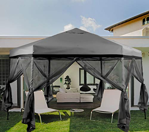 MFSTUDIO 12'x10' Hexagon Pop-Up Portable 6 Sided Gazebo with Mosquito Netting,Instant Screened Canopies with Heavy Duty Roller Bag(112 Square Feet of Shade),Grey