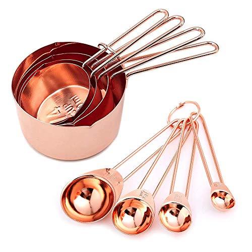 Juego de 8 tazas y cucharas medidoras de acero inoxidable apilables con medidas grabadas (oro rosa)